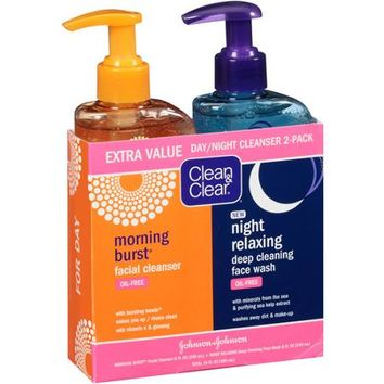 Clean & Clear Morning Burst Facial Cleanser & Night Relaxing Deep Cleaning Face Wash, 8 fl oz, 2 count - Walmart.com