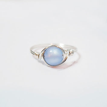 Faux Baby Blue Pearl Ring - unique rings - wire wrapped ring