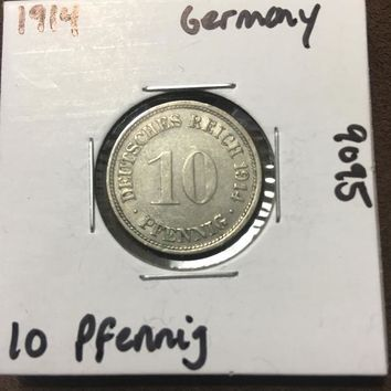 1914 German Empire 10 Pfennig Coin 9095