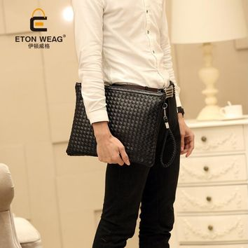England style pu leather men messenger bag bigCross Envelope Body Bags clutch Package Weave female fashion