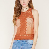 Embroidered Lace Cutout Top