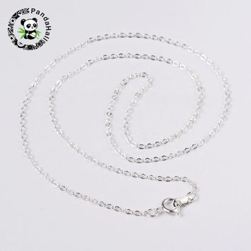 """120Strands Brass Chain Necklace Jewelry Findings Silver Color Nickel Free chain:2mm long, 1.5mm wide, 18"""""""