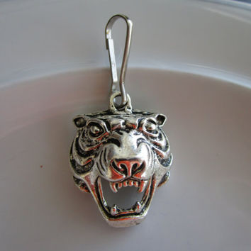 Silver tone carved tiger head charm zipper pull jackets and purses -  tiger zipper pull - tiger charm zipper pull - zipper pull coat- tiger