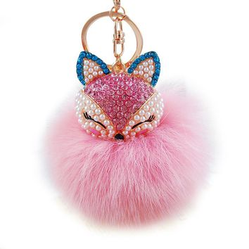 Fox Head Rhinestone Poof Keychain