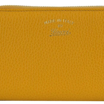 Gucci Women's Yellow Leather Trademark Logo Swing Zip Around Wallet