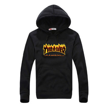 Thrasher autumn hoodies skateboard Tide james wang king brand fashion Fleece hooded cotton Solid Sweatshirts Asia size M-3XL