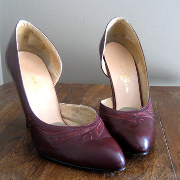 vintage 80s Shoes / Oxblood Leather Heels / Cut Out High Heels