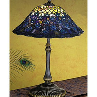 """0-001548>22""""h Peacock Feathers Small Table Lamp"""