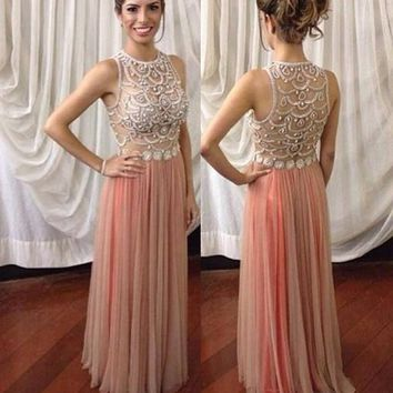 Modern A-Line Jewel Sleeveless Beading Long Prom Dress with Appliques