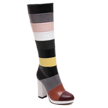 Color Block Mid-Calf Boots With Chunky Heel Design