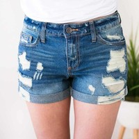 These Days Cuffed Distressed Denim Shorts