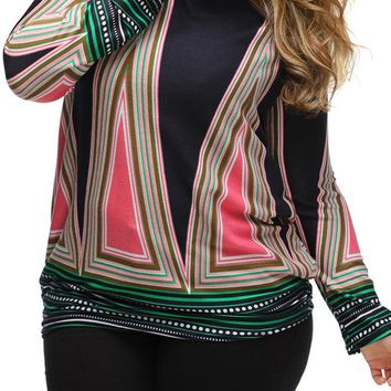 Streetstyle  Casual Long Sleeve Color Block Striped Crew Neck Plus Size T-Shirt