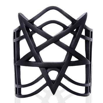 Black Inverted Pentagram Bracelet Cuff Goth Occult