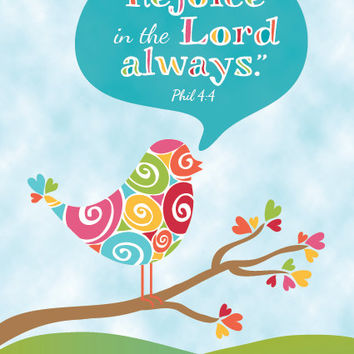 Rejoice in the Lord always - Phil. 4:4 - Framed 4x6 Print - Christian Scripture Art Gift
