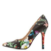 Floral Print Pointed Toe Stiletto Pumps