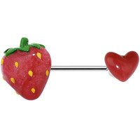 14 Gauge Love My Ripe Red Strawberry Nipple Ring Barbell | Body Candy Body Jewelry