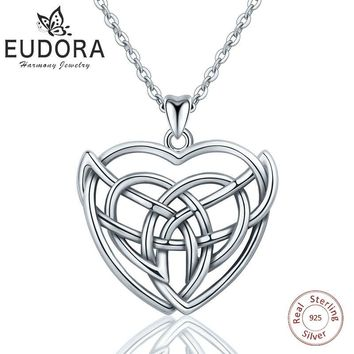 Eudora 925 Sterling Silver Heart Pendant Charm Irish Celtics Love Knot Necklace Sliver Fine jewelry For Women Collar Best Gifts