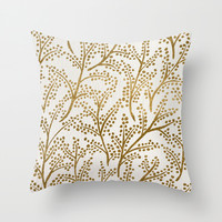 Gold Branches Throw Pillow by Cat Coquillette