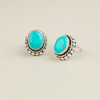 Silver and Turquoise Oval Tribal Stud Earrings | World Market
