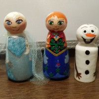 Handpainted wooden peg doll ,Small set of 3 dolls.