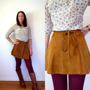Vintage Brown / Tan High Waisted Leather Wrap Skirt