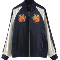 Navy Embroidery Pattern Contrast Sleeve Bomber Jacket