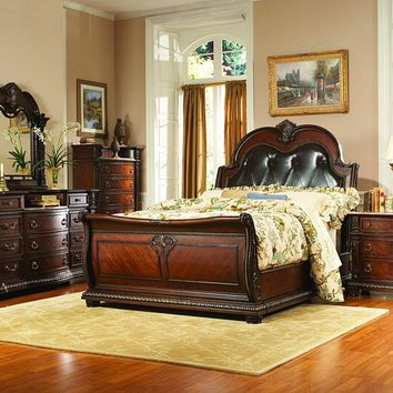 5 pc Palace collection rich brown finish wood with padded tufted headboard sleigh bedroom set