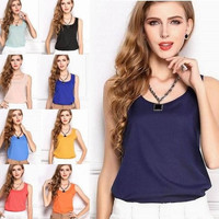 16Colors 5sizes for selecting Women New Fashion Ladies Girls students Slim summer Chiffon sleeveless Blouse tank Tops Waistcoat Solid Candy Colors Vest Shirts plus size S-XXL = 1958143876