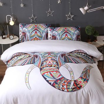 3PS comfort Bedding Sets Colorful Bohemian Print Duvet Cover Pillowcase Elephant Exotic Bedclothes Multi king queen jogo de cama