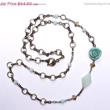 25% OFF STOREWIDE SALE Amazonite & Antique Brass Asymmetric Rose Necklace