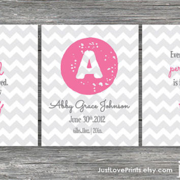 Baby Girl Christian Scripture Nursery Customizable Name Art - Set of 3, 8x10 Prints - You choose colors