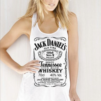 Jack Daniels whiskey Women Ladies' Flowy Racerback Tank top tee Handmade SCREEN Printing on shirt size S M L XL - By Joyce9866