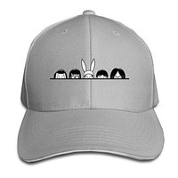 KEIOPO Custom Bobs Happy Burgers Family Outdoor Sandwich Peaked Caps Hats