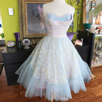 Vintage 1950s pale blue flocked prom dress wedding dress bolero jacket