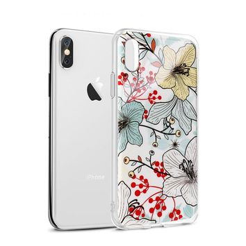 iPhone X Case, iPhone X Flower Case, AnsTOP Slim Shockproof Clear Floral Pattern Soft Flexible TPU Bumper [Supports Wireless Charging] Transparent Protective Cover for Apple iPhone X (2017)