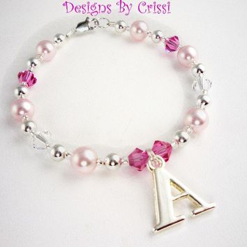 Flower Girl Bracelet, Personalized Initial Charm Name Swarovski crystal, sterling silver Pearl  baby, toddler, white, pink