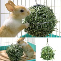 Stainless Steel Round Sphere Food Feed Dispenser Hanging Ball Toy Guinea Pig Hamster Rat Rabbit Pet Supplies