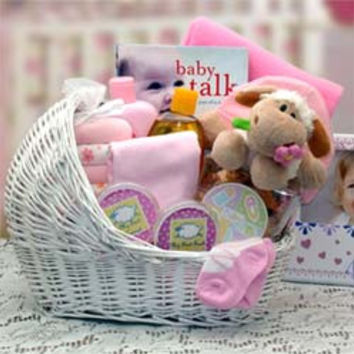 Welcome Baby Girl Bassinet Pink Gift Basket