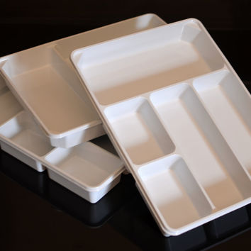"3-PACK of Organizer Trays for Desk Utensils Tools Crafts Vanity - 15.7"" X 11.7"" X 2.0"" - White"