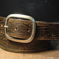 Western Embossed Leather Belt, Vintage Aged, Distressed Custom Snap Belt- Made in USA