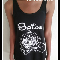 Disney Inspired Cinderella Bride and Carriage Loose Fitting Racer Back Tank Top