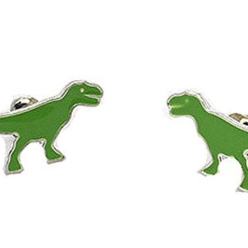 Basket Hill Watches and Gifts Green Dinosaur Post Earrings [Jewelry]