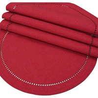 Melrose Hemstitch Place Mats, Red, Set of 4, Placemats