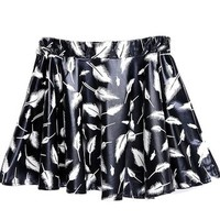 ERLKING Women's High Waisted Retro PU Pleated Bubble Skirt