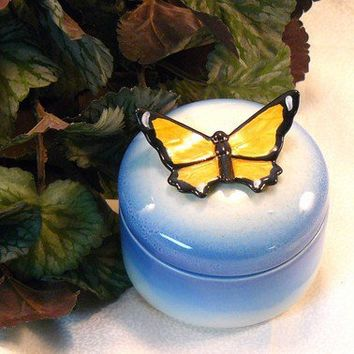 Ceramic Butterfly Keepsake Box by GrapeVineCeramicsGft on Etsy