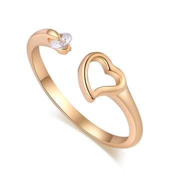 2017 Charming Jewelry Heart-shaped Ring Crystal Hand-set Opening Couple Rings for Women Wedding Gift