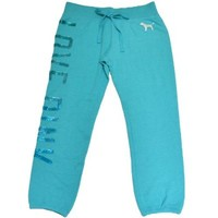 Victoria's Secret Pink Women's Sweatpant Bling Sequins Foil Signature Fit Pant Love Pink X-Small Aqua Blue