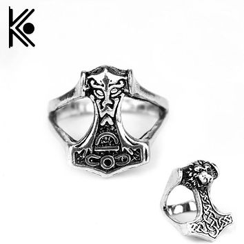 The vikings ring Lion King Thor Popular Ring Thors Hammer Knot Myth Rings  vikings jewelry Cross Ring jz024