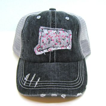 Black and Gray Distressed Trucker Hat - Gray Floral Applique - Connecticut - All United States Available