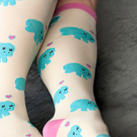 Manatees Knee High - Sock Dreams - Unique Colorful Socks